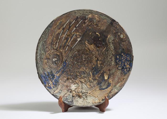 Dark Slip Dish, Paul Tebble (39cm front)