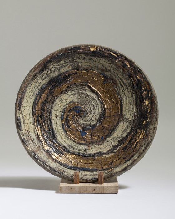 Golded Spiral Dish, Paul Tebble (35cm)