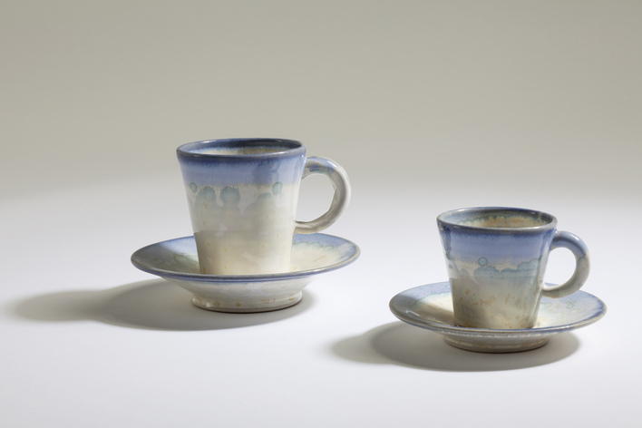 Crystal Cups and Saucers, Paul Tebble (12 &17cm diam)