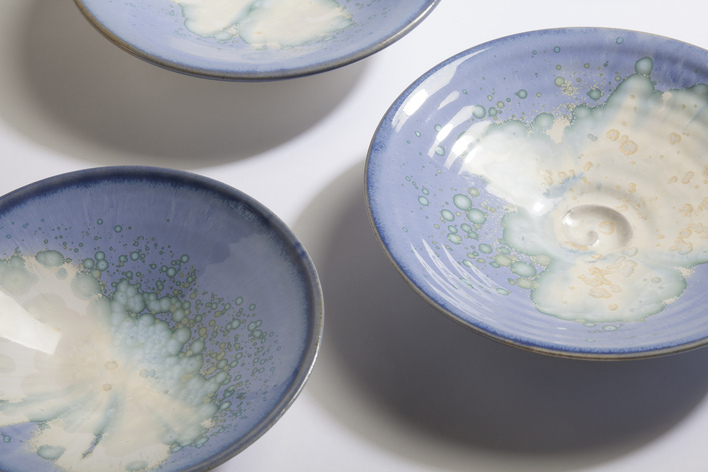 Blue Crystal Dishes, Paul Tebble (20cm each)